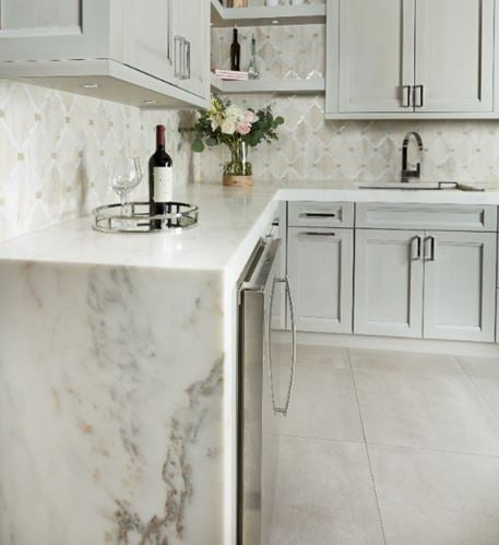 Imperial Danby Honed Marble Kitchen Countertops from Arizona Tile